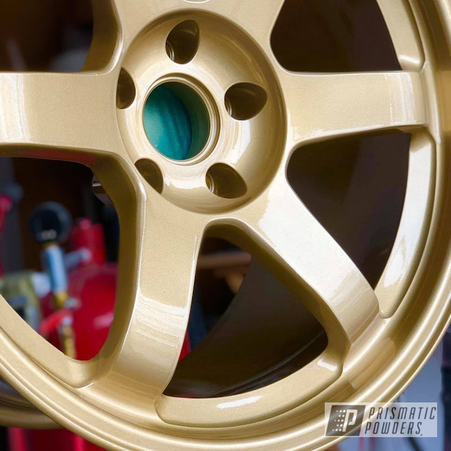 "Powder Coating: Wheels,Automotive,18"",Walts Gold PMB-4053,18"" Wheels,Volk Racing TE-37"