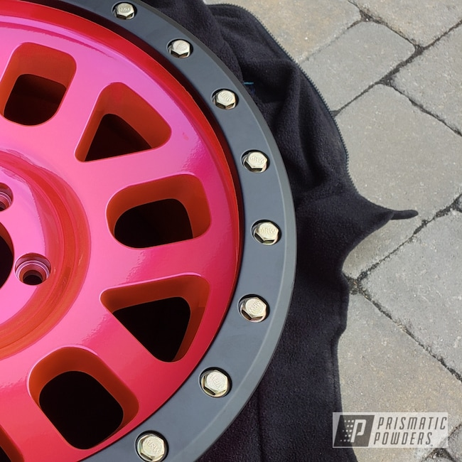 "Powder Coating: Wheels,Automotive,SUPER CHROME USS-4482,17"" Wheels,Method,Two Tone,Corkey Pink PPS-5875"