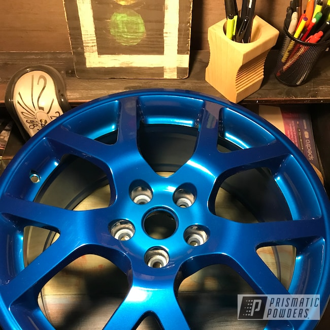 "Powder Coating: Wheels,Automotive,18"",SUPER CHROME USS-4482,Aluminium Wheels,18"" Wheels,Archery Blue PPB-1342"