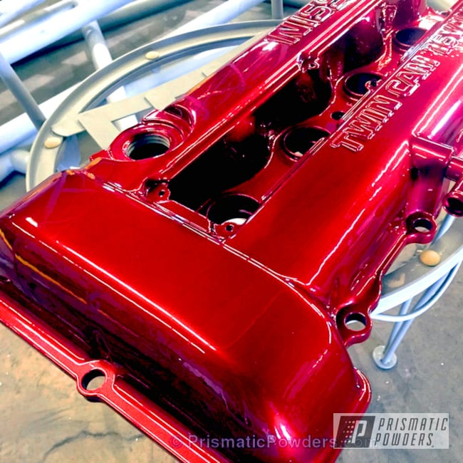 Powder Coating: Automotive,Nissan,Soft Red Candy PPS-2888,Nissan Twin Cam,Valve Cover,Powder Coated Automotive Parts