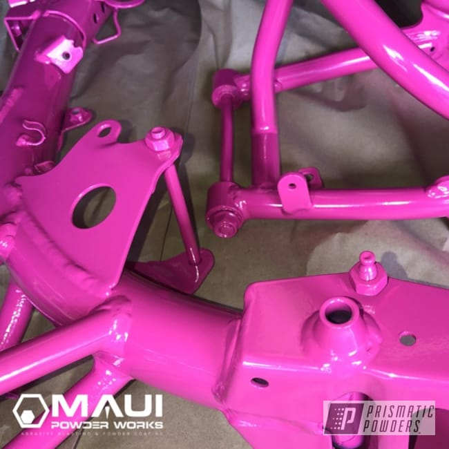 Powder Coated Telemagenta Dirt Bike Frame And Parts