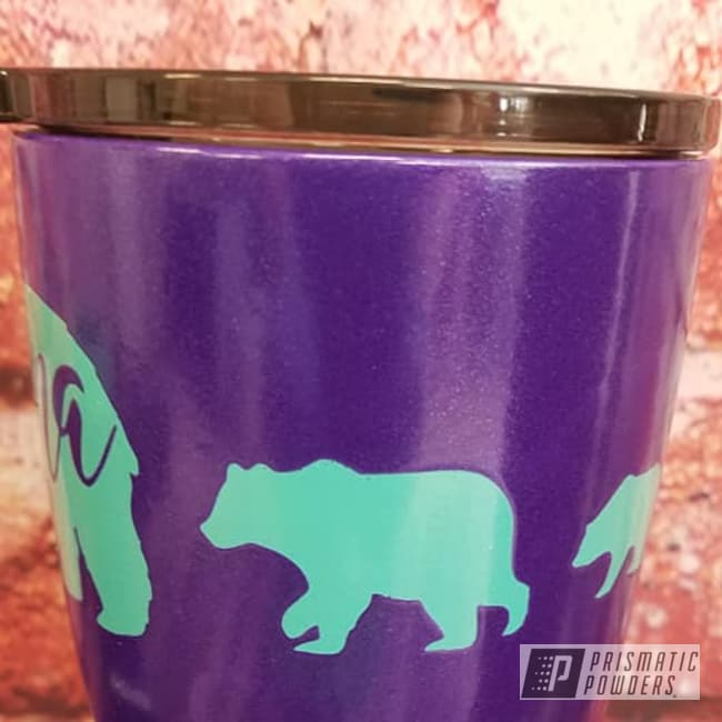Powder Coating: Tropical Breeze PSS-6837,Custom Cups,2 Color Application,Drinkware,20oz Tumbler,Crimson Purple PMB-2054