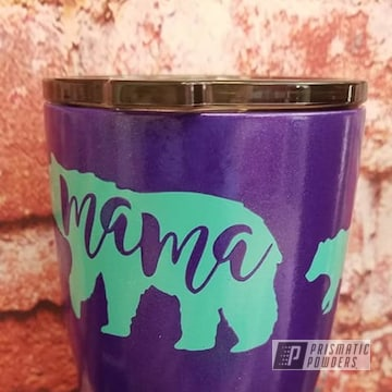 Powder Coated Purple And Teal 20oz Tumbler Cup