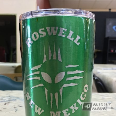 Powder Coating: Alien Zia Tumbler,Tumbler,Custom Powder Coated Cup,Roswell New Mexico,Rancher Green PPB-6935,Miscellaneous