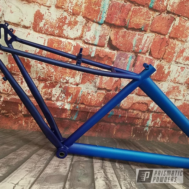 Powder Coating: Illusion,Bicycles,2 Color Application,Illusion Lite Blue PMS-4621,Illusion Royal PMS-6925,Casper Clear PPS-4005,Bicycle Frame
