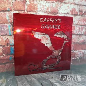 Powder Coated Red Custom Sign