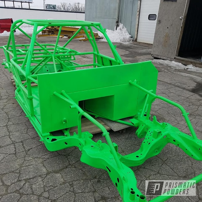 Powder Coating: Automotive,Car Frame,Powder Coated Frame,Neon Green PSS-1221,Race Car Chassis