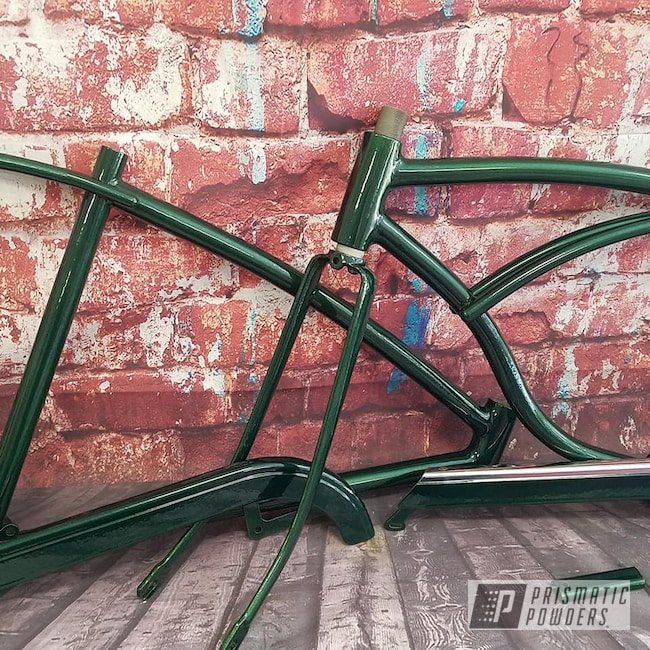 Powder Coating: Bicycles,Clear Vision PPS-2974,Bike Frame,Illusion Moss PMB-6914,Bicycle Frame