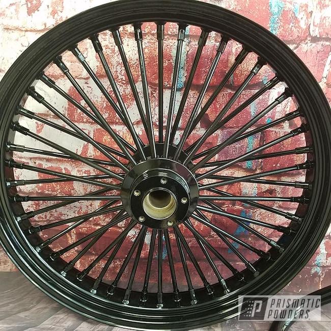 Powder Coating: Harley Davidson,Harley Wheel,Motorcycle Parts,Ink Black PSS-0106,Crash Bar,Spoked Rim,Motorcycle Wheels,Motorcycles