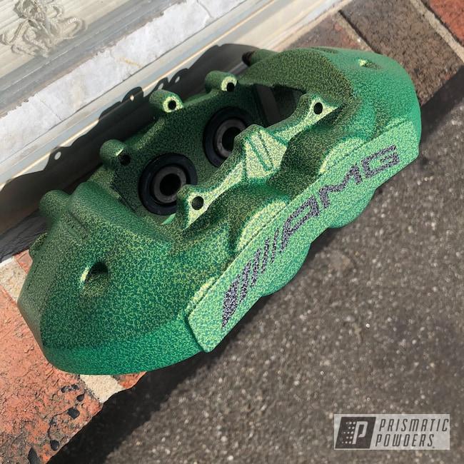 Powder Coating: Brakes,Flat Shocker Yellow PPB-6524,Brembo,Brake Calipers,Mercedes Benz,Black Frost PVS-3083
