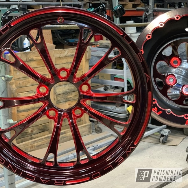 Powder Coated Red And Black Two Toned Wheels