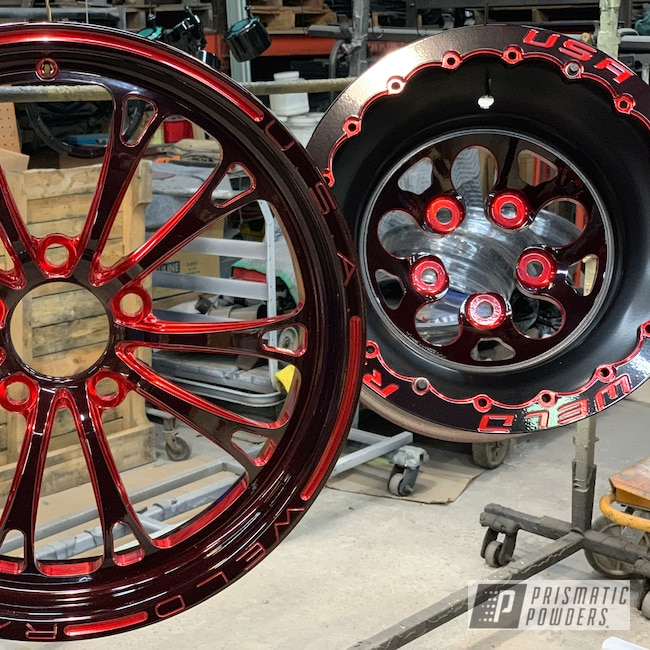 Powder Coating: Wheels,Automotive,RC Components,Shaded Cherry PPB-8036,Two Tone,Beadlock