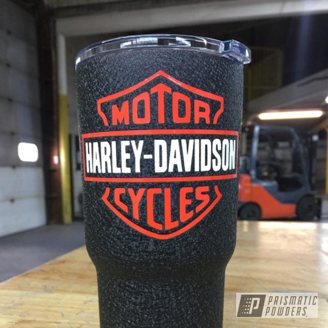 Powder Coating: Splatter Black PWS-4344,Tumbler,Custom Powder Coated Cup,RTIC,Tumbler Cup,Polar White PSS-5053,Harley Davidson Themed Design,Custom 2 Coats,Harley Orange PMB-2829,Miscellaneous