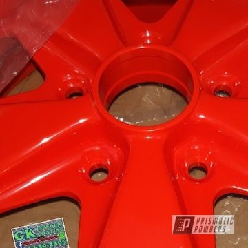 Powder Coated Traffic Red Porsche Wheels