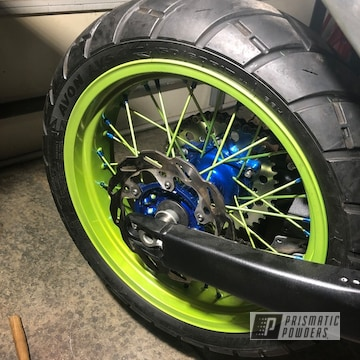 Two Toned Candy Blue And Candy Yellow Yamaha Wheels