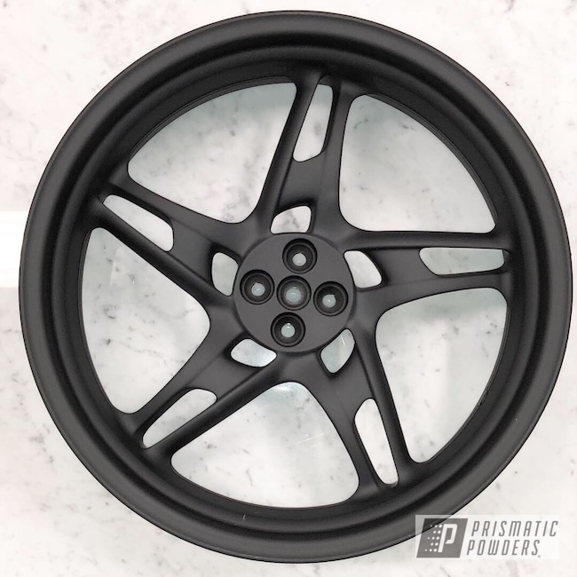 "Powder Coating: Motorcycle Rims,Ink Black PSS-0106,BMW,17"" Wheels,Motorcycles,Casper Clear PPS-4005"