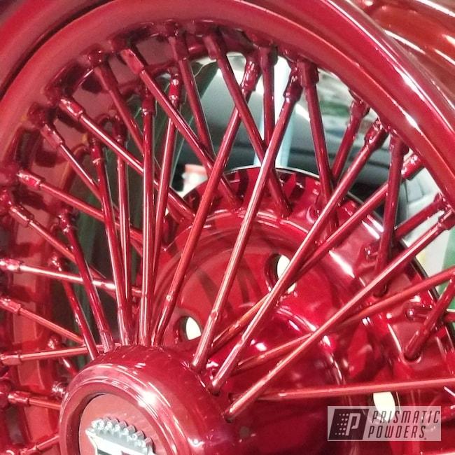 Powder Coating: Wheels,Automotive,Custom Rim,SUPER CHROME USS-4482,Rancher Red PPB-6415,Cadillac
