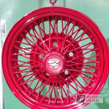 Powder Coated Candy Red Cadillac Wheels