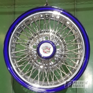 Powder Coated Chrome And Candy Blue Two Toned Cadillac Wheels