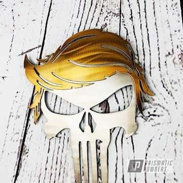 Powder Coated Gold Punisher Themed Cnc Metal Art
