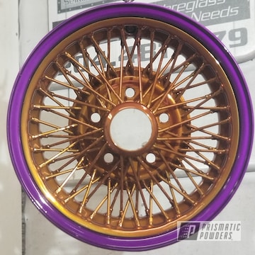 Powder Coated Purple And Gold Spoked Wheels