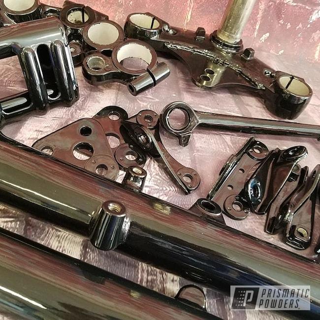Powder Coating: Harley Davidson,Triple Tree,Motor Bike Parts,Ink Black PSS-0106,Motorcycles