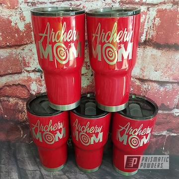 Powder Coated Red Custom 30oz Tumblers