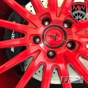 Powder Coated Red Amg Mercedes Wheels