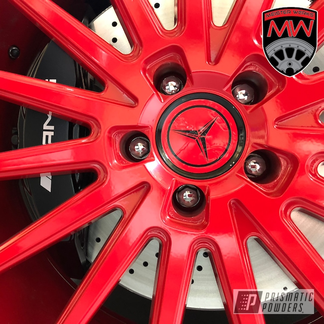 Powder Coating: Wheels,Automotive,Really Red PSS-4416,Aluminum Wheel,Rims,Mercedes,Mercedes Benz,AMG,European