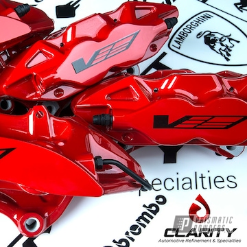 Powder Coated Red Cadillac Brembo Brake Calipers