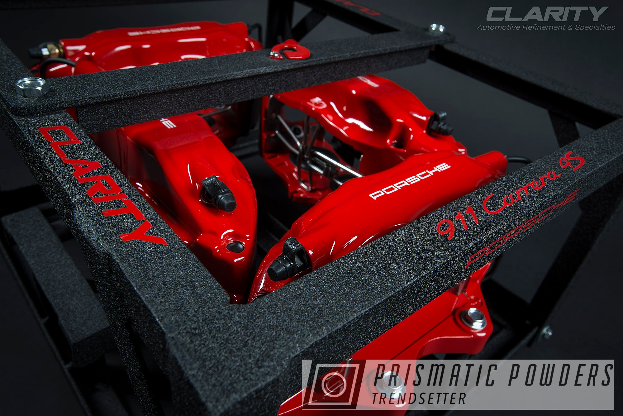 Powder Coating: Red Wheel PSS-2694,Automotive,Clear Vision PPS-2974,911T,Brembo,Brake Calipers,Porsche,Drive Clarity
