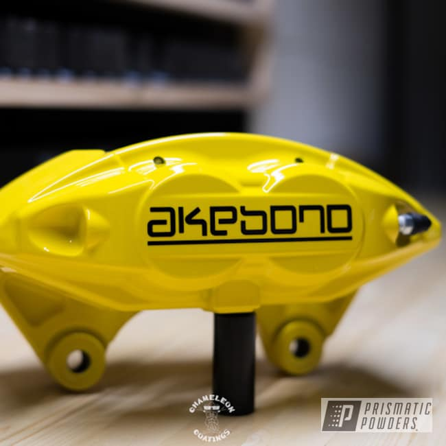 Powder Coating: Automotive,Brakes,BBK,Brake Calipers,Akebono Calipers,Yes Yellow PSS-5691,Akebono,Custom Brake Calipers