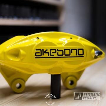 Powder Coated Yellow Akebono Brake Calipers