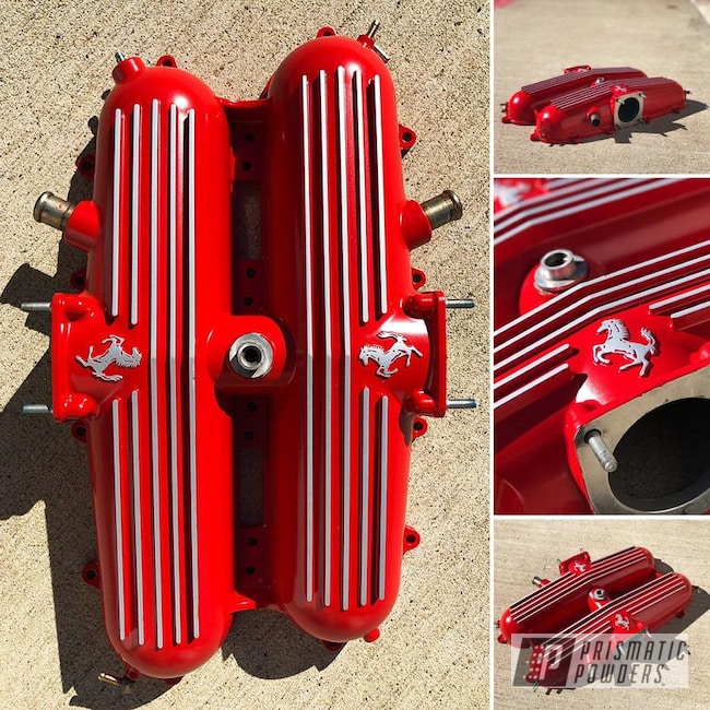 Powder Coating: Red Wheel PSS-2694,Automotive,Valve Covers,Ferrari,Valve Cover