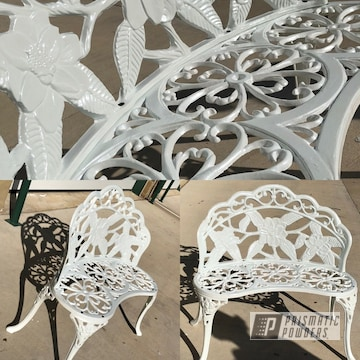 Powder Coated White Restored Park Bench