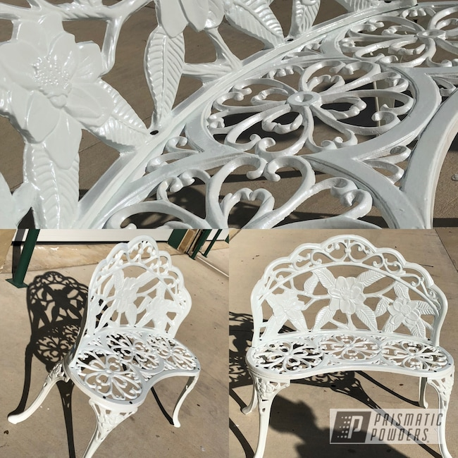 Powder Coating: Whipped Pearl Step 2 PPB-6802,Bench,Restored,Whipped Pearl Step 1 PMB-6801,Cast Iron,Park Bench