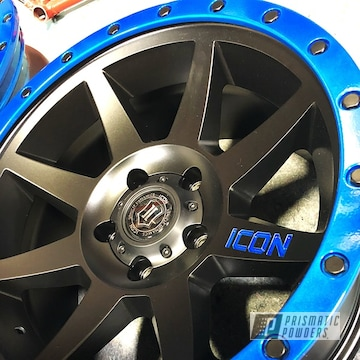 Powder Coated Blue And Black Icon Jeep Wheels