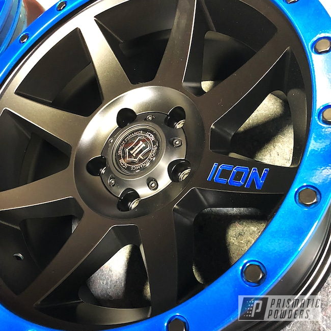 Powder Coating: Wheels,Illusion Blue-Berg PMB-6910,Automotive,Clear Vision PPS-2974,Stone Black PSS-1168,Custom Wheel,Custom Wheels,Powder Coated Wheel,Jeep,Wrangler,Icon
