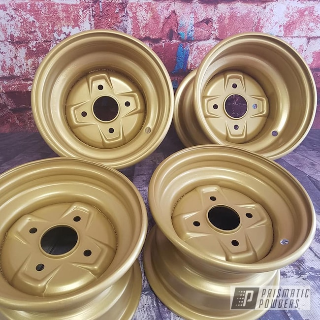 Powder Coating: Wheels,Goldtastic PMB-6625,Powder Coated Wheels,ATV Parts,ATV Wheels
