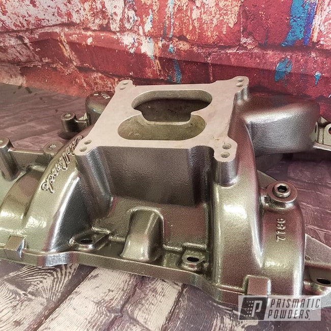 Powder Coating: Intake Manifold,Automotive,Edelbrock,Kingsport Grey PMB-5027,Edelbrock Intake,Automotive Parts