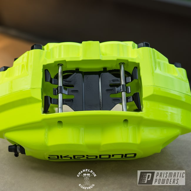 Powder Coating: Automotive,Brakes,Brake Calipers,Neon Yellow PSS-1104,Akebono Calipers,Akebono