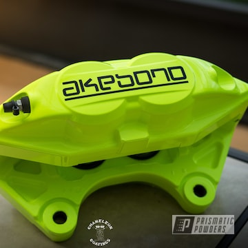 Powder Coated Neon Yellow Akebono Brake Calipers
