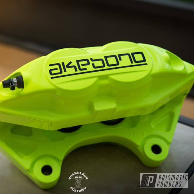 Powder Coating: Automotive,Brakes,Brake Calipers,Neon Yellow PSS-1104,Akebono Calipers,Akebono