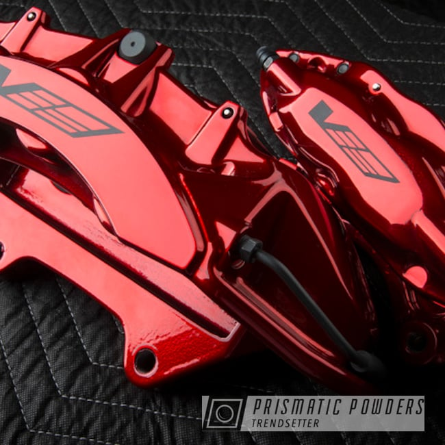 Powder Coating: Automotive,Brakes,SUPER CHROME USS-4482,LOLLYPOP RED UPS-1506,Brembo,Brake Calipers,CTSV,Cadillac,driveclarity