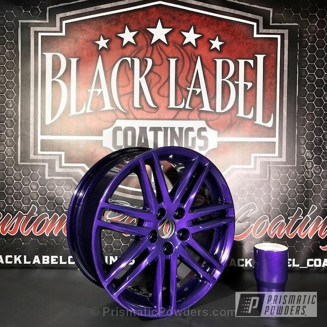 Powder Coating: Wheels,Automotive,Scion Wheels,Custom Powder Coated,Ink Black PSS-0106,Matching Cup,Blackberry Sparkle PPB-1133