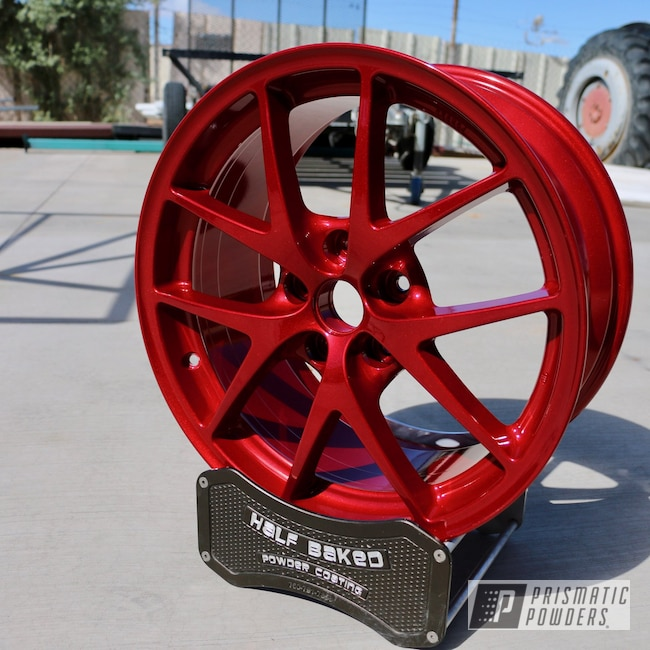 "Powder Coating: Wheels,Automotive,STI,LOLLYPOP RED UPS-1506,17"" Wheels,Subaru,Alien Silver PMS-2569"