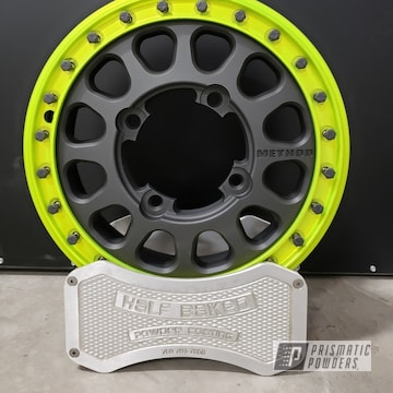 Powder Coated Grey And Yellow Two Tone Method Rzr Wheels