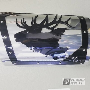 Powder Coated Black And Chrome Sp Custom Emblem Exhaust Tips