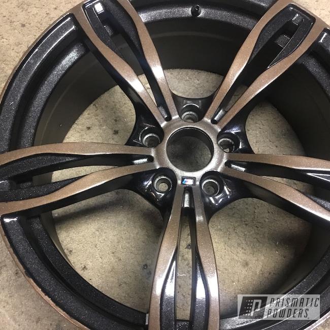 "Powder Coating: Wheels,Automotive,TRIPLE BRONZE UMB-4548,Ink Black PSS-0106,BMW,Metallic Clear PPB-6325,20"",20"" Aluminum Wheels"