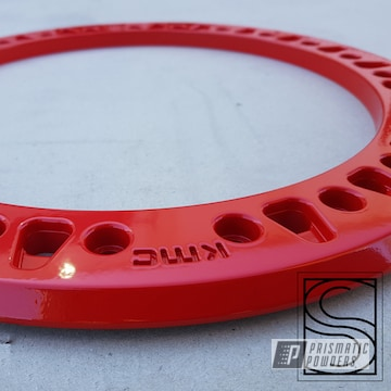 Powder Coated Red Jeep Kmc Beadlock